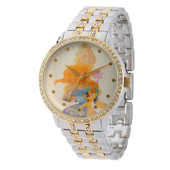 Disney Beauty and the Beast Womens Two Tone Stainless Steel Bracelet Watch-Wds000069