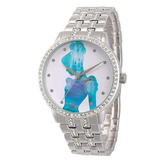 Disney Collection Cinderella Womens Silver Tone Stainless Steel Bracelet Watch-Wds000070