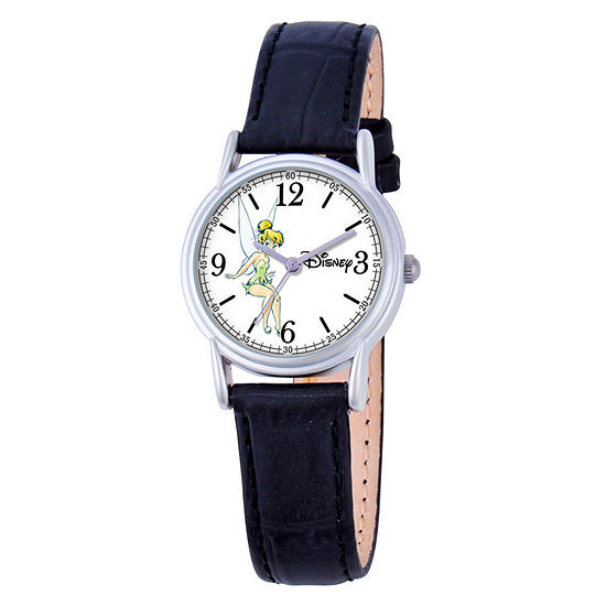 Tinker Bell Womens Black Leather Strap Watch-W000550