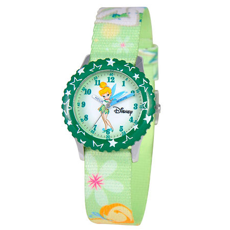 Disney Tinker Bell Girls Green Strap Watch-W000069, One Size , No Color Family