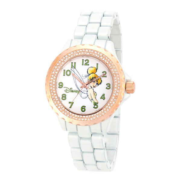 Disney Tinker Bell Womens White Bracelet Watch-W001636