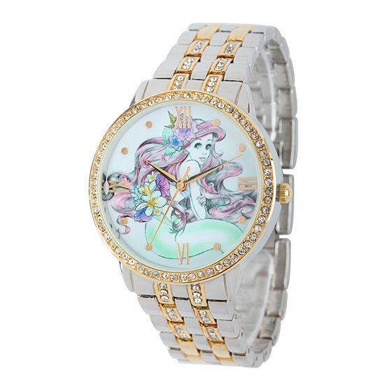 Disney The Little Mermaid Womens Two Tone Stainless Steel Bracelet Watch - W001828
