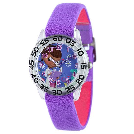 Disney Time Teacher Doc McStuffins Girls Purple Strap Watch-W001955