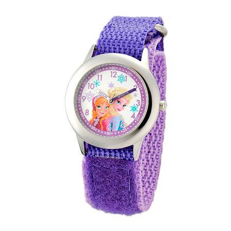 Disney Frozen Anna and Elsa Girls Purple Time Teacher Watch-W001228, One Size