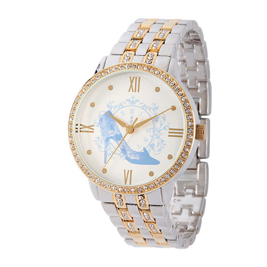 Disney Collection Cinderella Womens Two Tone Stainless Steel Bracelet Watch-W002145