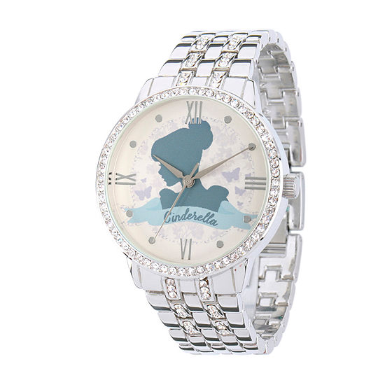 Disney Cinderella Womens Silver Tone Stainless Steel Bracelet Watch - W002146
