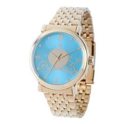 Disney Cinderella Womens Gold Tone Bracelet Watch-W002156