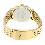 Disney Collection Set With Swarovski Crystals Cinderella Womens Gold Tone Stainless Steel Bracelet Watch-W002156