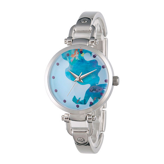 Disney Collection Set With Swarovski Crystals The Little Mermaid Womens Silver Tone Stainless Steel Bracelet Watch-Wds000072