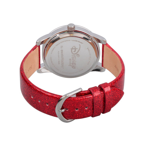 Disney The Little Mermaid Womens Red Strap Watch-Wds000075