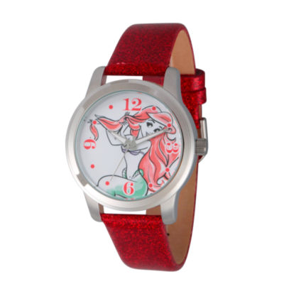 Disney The Little Mermaid Womens Red Strap Watch-Wds000076