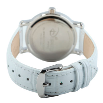 Disney Frozen Anna and Elsa Womens White Leather Strap Watch-W002036