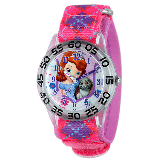 Disney Set With Swarovski Crystals Sofia The First Girls Pink Strap Watch-W001957