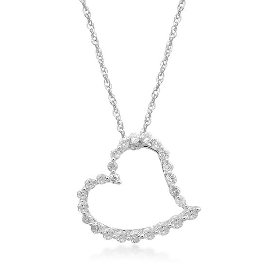 Womens 1/7 CT. T.W. Genuine White Diamond 10K White Gold Heart Pendant Necklace
