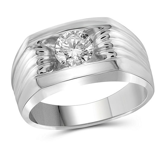 Mens 4MM 1 CT. T.W. Genuine White Diamond 10K Gold Band