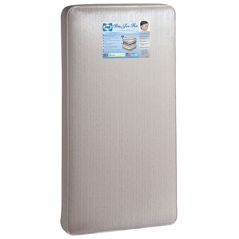 Sealy Baby Firm Rest Crib Mattress, Silver And White