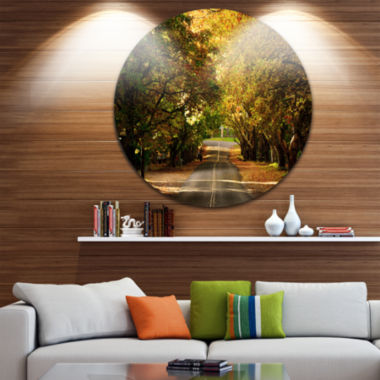 Design Art Road through Beautiful Green Trees Landscape Metal Circle Wall Art