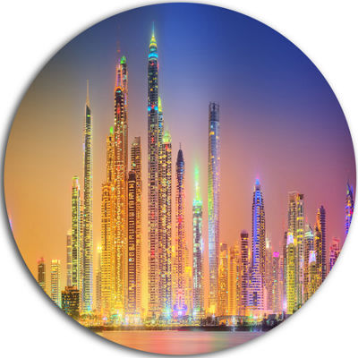 Design Art Dubai Marina Skyscrapers Panorama UltraGlossy Cityscape Circle Wall Art