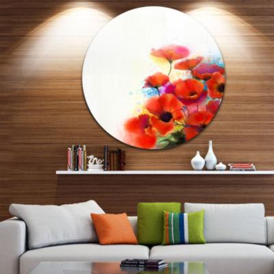 Design Art Bunch of Watercolor Poppy Flowers LargeFlower Metal Circle Wall Art