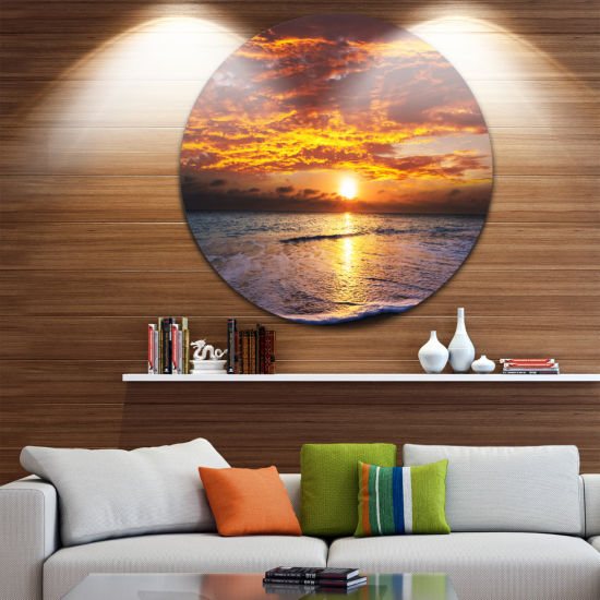 Design Art Yellow Sunset above Foaming Waves BeachMetal Circle Wall Art