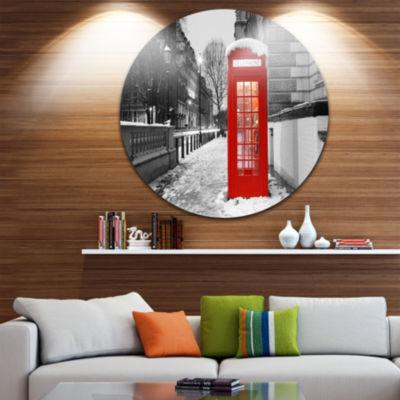 Design Art Red London Telephone Booth Ultra GlossyCityscape Metal Circle Wall Art
