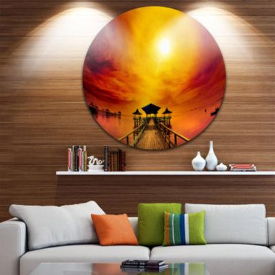 Design Art Exotic Wood Pier under Yellow Sun Sea Bridge Metal Circle Wall Art