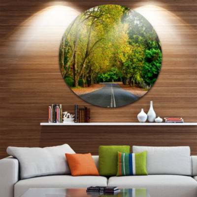 Design Art Road through Stunning Greenery Landscape Metal Circle Wall Art