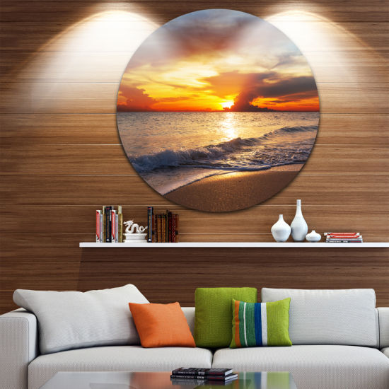 Design Art Yellow Sunset over Gloomy Beach Beach Metal Circle Wall Art
