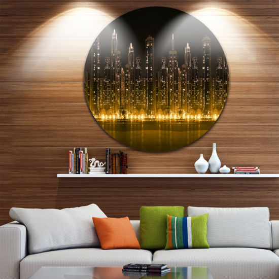 Design Art City with Illuminated Skyscrapers UltraGlossy Cityscape Circle Wall Art
