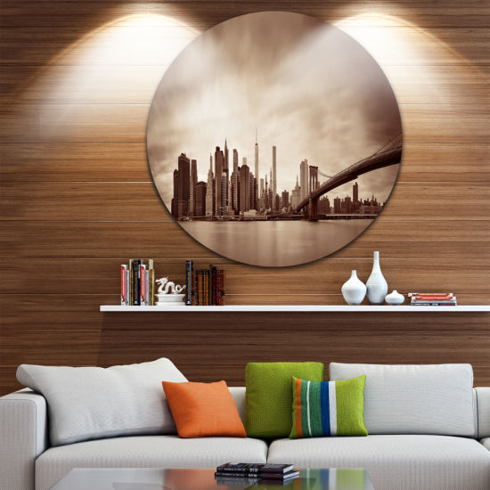 Design Art Manhattan Financial District Ultra Glossy Cityscape Circle Wall Art