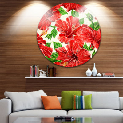 Design Art Seamless Hibiscus Flowers Pattern UltraGlossy Floral Metal Circle Wall Art