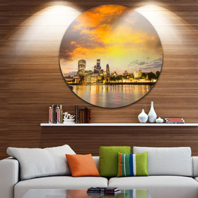 Design Art Financial District of London at Twilight Ultra Glossy Cityscape Metal Circle Wall Art