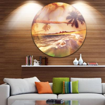 Design Art Tropical Beach with Bent Coconut PalmsBeach Metal Circle Wall Art