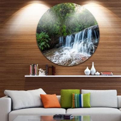 Design Art Beautiful Waterfall in New Australia Landscape Metal Circle Wall Art