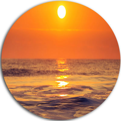 Design Art Orange Sunrise and Glittering Waters Seascape Metal Circle Wall Art