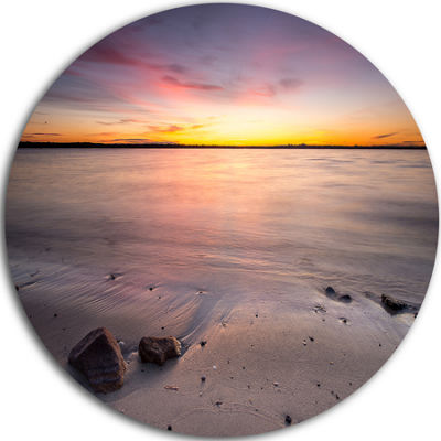 Design Art Beautiful Natural Sea during Sunrise Large Seashore Metal Circle Wall Art