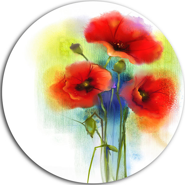Design Art Bunch of Bright Red Poppy Flowers LargeFlower Metal Circle Wall Art