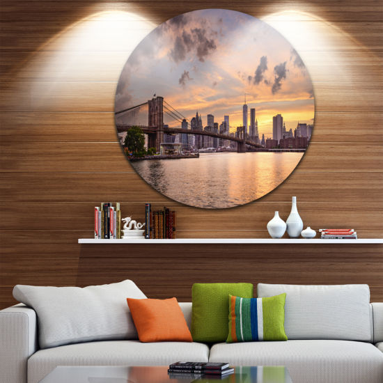 Design Art New York City Skyline under Dark CloudsUltra Glossy Cityscape Circle Wall Art