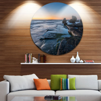 Design Art Bluish Sea Waters at Sydney Beach LargeSeashore Metal Circle Wall Art