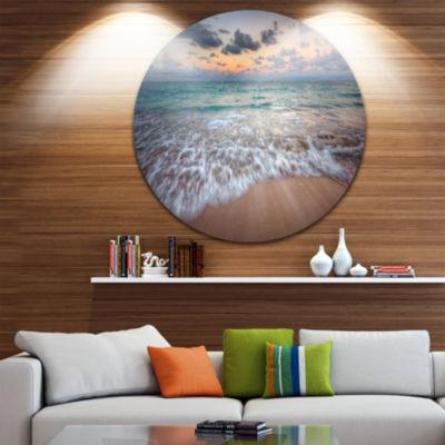 Design Art Waves Crashing Serene Seashore SeascapeMetal Circle Wall Art