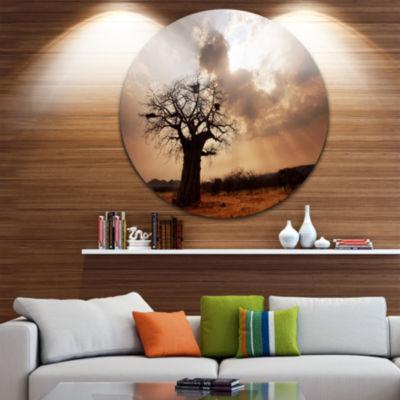 Design Art Large Baobab Tree under Clouds Landscape Metal Circle Wall Art