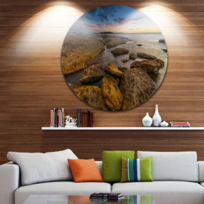 Design Art Large Brown Rocks at Sydney Beach LargeSeashore Metal Circle Wall Art