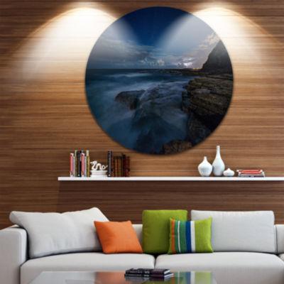 Design Art Rocky Blue Ocean at Nighttime Large Seashore Metal Circle Wall Art