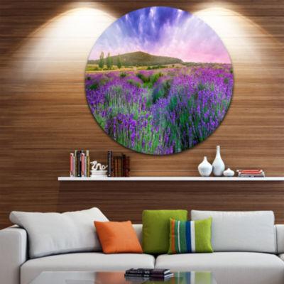 Design Art Summer Lavender Field in Tihany Landscape Metal Circle Wall Art