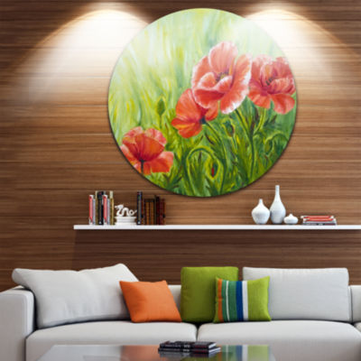 Design Art Blooming Poppies with Green Leaves Ultra Glossy Floral Metal Circle Wall Art