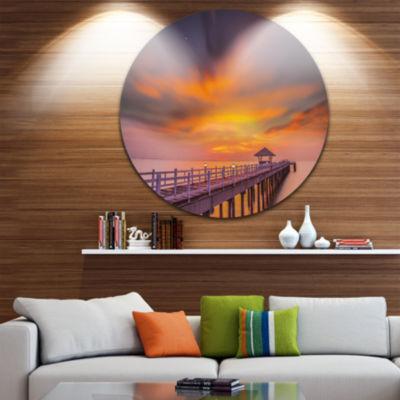Design Art Seashore with Long Wooden Pier Pier Seascape Metal Circle Wall Art