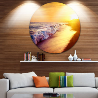 Design Art Bright Yellow Sky with Foam Waves LargeSeashore Metal Circle Wall Art