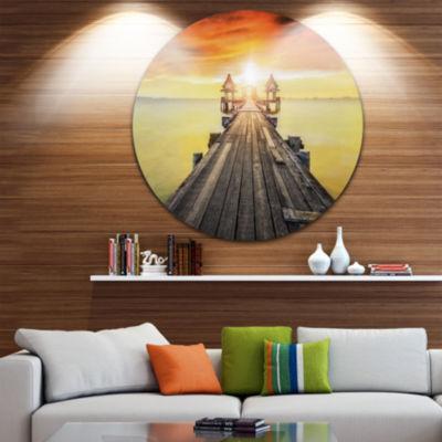 Design Art Huge Wooden Pier into Yellow Sun Pier Seascape Metal Circle Wall Art