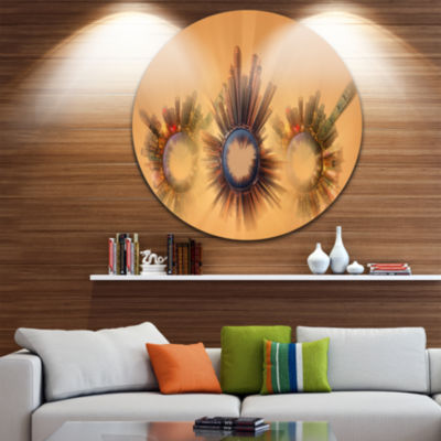 Design Art Miniature Earth Planets with Skyscrapers Ultra GlossyAbstract Circle Wall Art