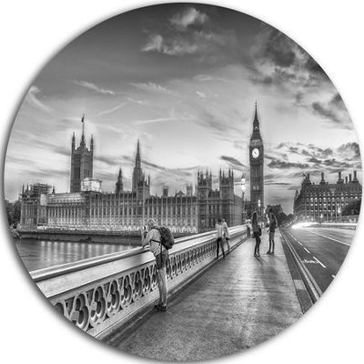 Design Art Beautiful Black and White London View Ultra Glossy Cityscape Metal Circle Wall Art